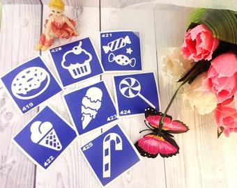 "Stencils for temporary tattoos. ""Candy"" set, 7 pieces. Glitter tattoo. Henna Stencils.Adhesive stencils.Body art tattoo"