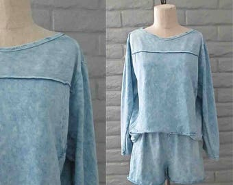 Vintage 1990's sweatsuit light blue ACID WASHED sweatshirt and shorts set - M/L