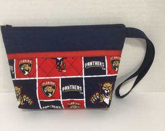 Florida Panthers Cosmetic Bag - Wallet - Clutch - Zippered Pouch - Bridesmaid Gift - NHL Toiletry Bag - Makeup Bag - Travel Bag - Wristlet