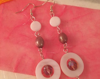 Beautiful mother of pearl earrings with stone beads, swarovski crystals