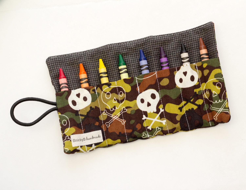 Camo Crayon Roll, Skulls Crayon Roll Up, Camouflage Fabric Crayon Holder, Brown, Green, Black, and Gray Cotton Fabrics, Handmade