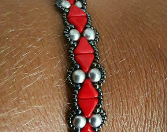 Bracelet with KHEOPS® red and silver
