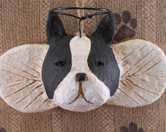 Boston Terrier Angel Ornament OOAK, hand-sculpted from papier mache, BOSTON ANGEL