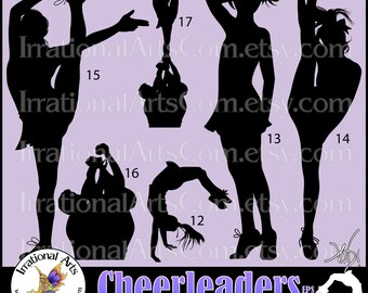 Cheerleader Silhouettes set 4 - 8 EPS & SVG Vinyl Ready files and 8 PNG digital graphics and small commercial license [Instant Download]