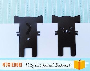 Black Cat Bookmark, Kitty Butt Face Bullet Point Journal Spread Marker, Animal Pet Book Gift