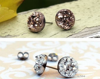 2 Pair Set of Glitter Stud Earrings, Faux Druzy Posts in Rose Bronze and Metallic Silver, 10mm