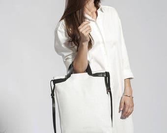 White Leather Handbag, 15 Inch Laptop Bag, Soft Leather Purse, Crossbody Bag, Shoulder Bag, Leather Bag, White Purse, Office Bag - Chris