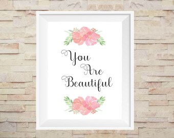 Romantic Bedroom Wife Gift, Birthday Gift-for-Her, You Are Beautiful Printable, Romantic Gift-for-Girlfriend Print, Love Couple Wall Art