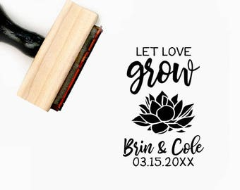 Custom Let Love Grow Hand Lettered Pre-Designed Rubber Stamp - Branding, Packaging, Party, Invitations, Tags, Wedding - W015