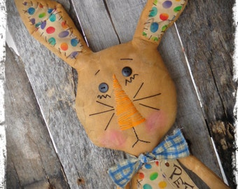 Primitive Bunny Rabbit Doll, Easter Bunny, Spring Decor, OFG FAAP