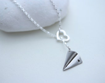 Personalized Airplane Necklace . One Direction to my Heart Harry Styles Paper Airplane charm Necklace. Original design By MonyArt