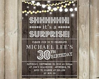 SURPRISE BIRTHDAY PARTY Invitation - Adult Birthday Party Invite - Shh it's a Surprise - Rustic - String Lights - Wood - Digital File