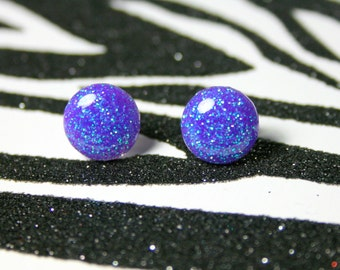 Indigo Stud Earrings, Blue Purple Resin Studs, Bluish Purple Round Earrings