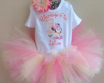 Minnie Mouse 1st Birthday, Minnie Mouse Tutu Outfit, with Name & Birthday Girl, Minnie Mouse 1st Birthday, Minnie Mouse Birthday Outfit