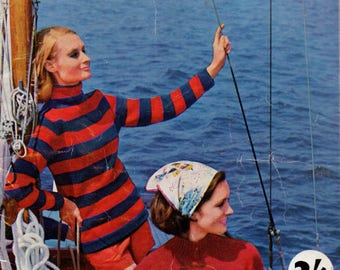 Villawool Sail Knits No 1 Womens 60s Vintage Knitting Patterns Booklet Striped Cable Retro Fair Isle Sweaters Originals not PDF