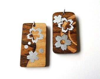 Handmade Wooden Necklace / Keychain / Charm / Tag - Sakura / Cherry Blossom Series
