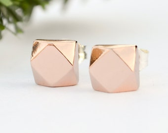 Chunky Rose Gold Earring Studs - Faceted Everyday Pink Studs - Faux Diamond Earings - Eco Friendly - Ethical Jewelry - Handmade in Brooklyn