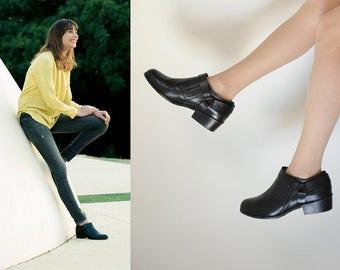 Black booties // Cowboy boots // Black ankle boots // Women winklepickers // Handmade shoes // Low heel boots // Designer booties