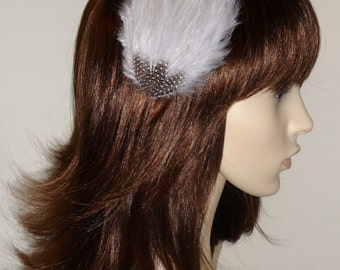 Light Pale Grey Feather Fascinator HAIR CLIP Bridesmaids Hair Accessory Handmade Wedding 'Gwen'