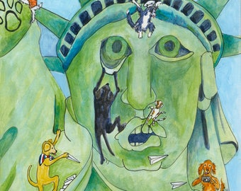 New York Dogs Series  Statue of Liberty Mixed Media Image Print On Acid Free Paper