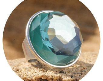 Artjany XXL Ring Aqua Turquoise Silver