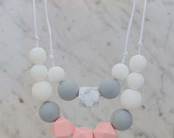 Double Strand Silicone Teething Necklace Breastfeeding Baby Wearing Nursing Statement Geometric Jewellery New Mum Shower Gift Fiddle Bead