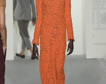 Elegant Crochet Long Lace Dress, Irish Lace Dress