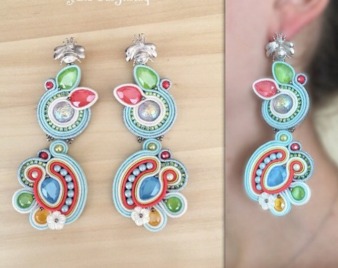 Hanmade soutache earrings, swarovski crystals Wanderlust collection, multicolor pastel