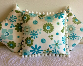 """Retro throw pillow covers, 1960's or 1970's fabric, 14"""""""