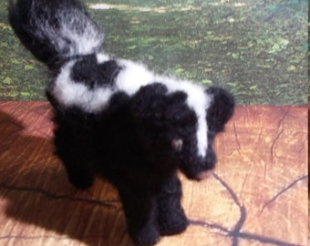 Skunk Needle Felted Striped Skunk