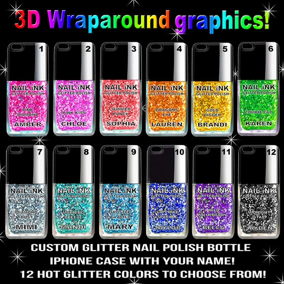 Glitter Nail Polish Phone Case 12 GLITTER SPARKLE COLORS
