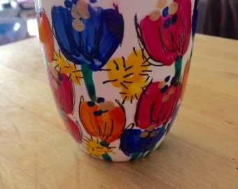 FREE POST multicolored hand painted flowers bespoke coffee mug incl golden wattle