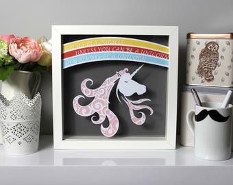 Unicorn paper cut, Unicorn gift, Unicorn lover gift, framed paper cut, unicorn decor,Always be a Unicorn, unicorn nursery, teen girl room