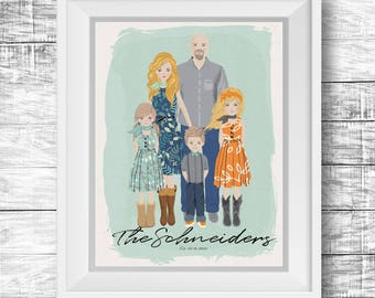 Personalized Family Portrait - Printable Art, Digital Download, Custom Illustration