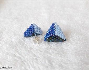 Blue triangle stud peyote stitch Miyuki Delica earrings aretes handmade jewelry