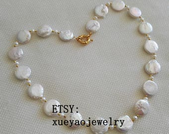 Pearl Necklace - coin pearl necklace, baroque pearl necklace, 14-15 mm white coin pearl necklace