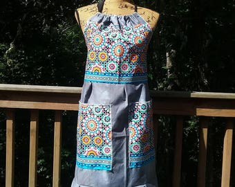 Women's Ruffled Full Market Apron, Recycled Gardening Pocket Apron, Handmade Patchwork Festival Hippie Halter Top, Waitress Server Kitchen