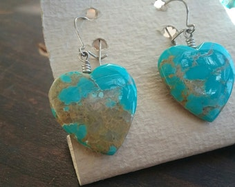 Vintage Hand Made Pilot Mountain Heart Shaped Earrings