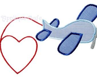 267 Valentine Airplane Machine Embroidery Applique Design