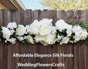 Wedding arch decor etsy very large 45 white peonies roses hydrangea swag arch decorations head table centerpieces silk wedding junglespirit Choice Image