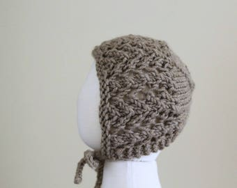 Ready To Ship - Sitter's Lace Bonnet - Taupe