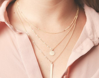 Gold layering necklace set  gold bar simple delicate Layered Necklaces with circle disk gold filled jewelry.