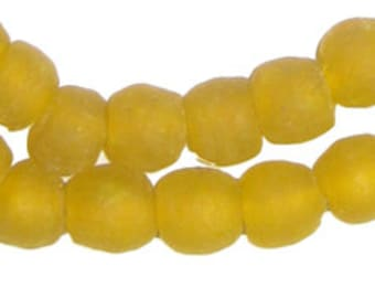 50 Recycled Glass Beads - Yellow African Beads - 11mm Round Beads - Fair Trade - Made in Africa (RCY-RND-YLW-641)
