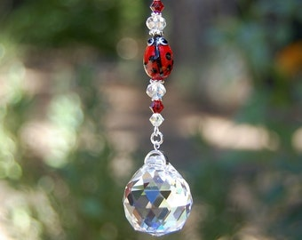Ladybug Crystal Suncatcher, Rear View Mirror Car Charm, Window Sun Catcher, Home Decor, Car Accessories, Rainbow Prism
