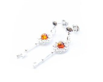 Amber Key Charm Earrings, Key Earrings, Silver Key Earrings, Charm Earrings, 21st Birthday Gift, Key to my Heart Gift, January Birthday