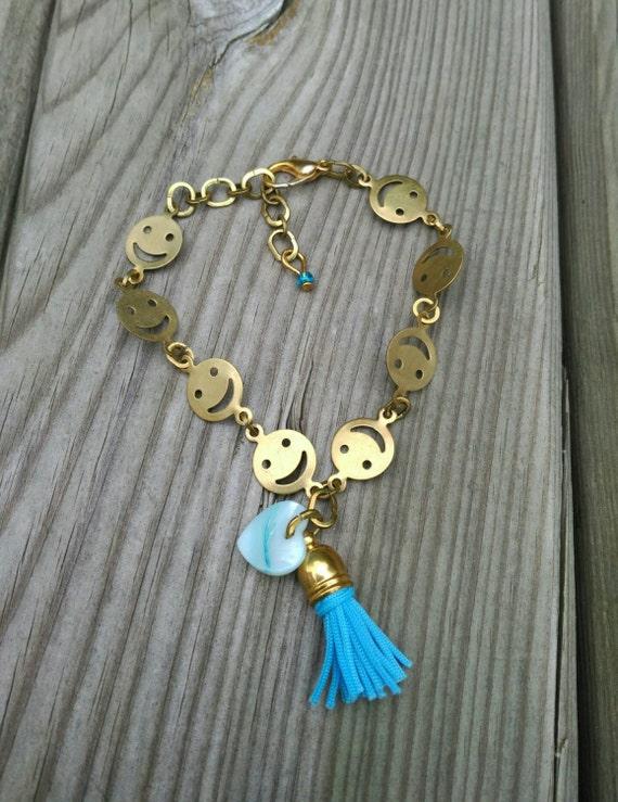 SMILEY FACE BRACELET/chain bracelet/heart bracelet/tassel bracelet/girl bracelet/San Valentine bracelet