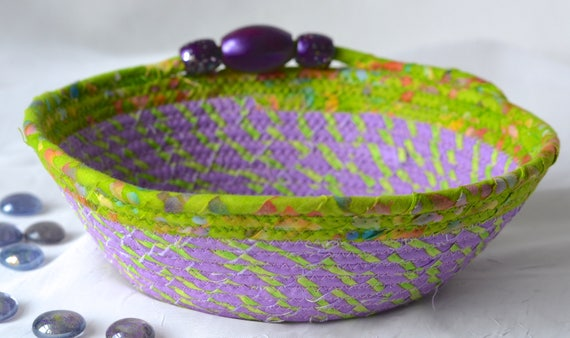 Cute Violet Bowl, Handmade Quilted Fabric Basket, Napkin Holder, Hand Coiled Knitting Yarn Basket, Purple Lavender Fabric Basket
