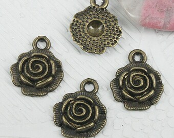 30pcs antiqued bronze color flower charms in 14mm EF0869