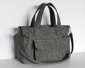 Clearance SALE - Gray Water-resistant crinkle nylon bag, Zippered interior divider, Everyday handbag, Messenger, 3 Compartments - Mini Nuch