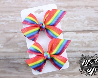 Glitter Rainbow Pigtail Set - Pigtail Bows Set - Piggy Sets - Toddler Hair Bows - Girls Hair Bows - Back to School Hair Bows - 2.5 Inch Bows